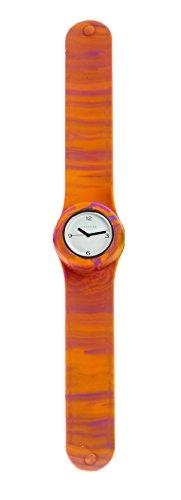 SlapStixx wasserdichte Quarzuhr mit Silikonarmband Slap oder WrapWatch moderne und trendige Uhr orange lila Verlauf