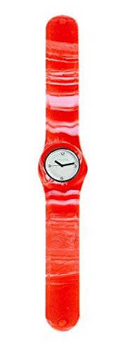 SlapStixx wasserdichte Quarzuhr mit Silikonarmband Slap oder WrapWatch moderne und trendige Uhr rot weiss Verlauf