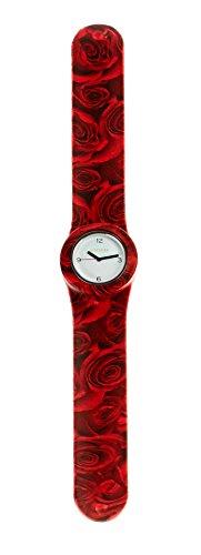 SlapStixx wasserdichte Quarzuhr mit Silikonarmband Slap oder WrapWatch moderne und trendige Uhr rote Rose