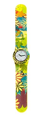 SlapStixx wasserdichte Quarzuhr mit Silikonarmband Slap oder WrapWatch moderne und trendige Uhr bunte Blume