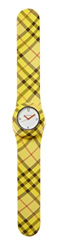 SlapStixx wasserdichte Quarzuhr mit Silikonarmband Slap oder WrapWatch moderne und trendige Uhr gelb kariert