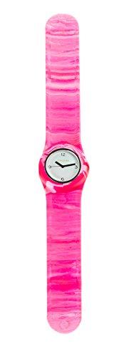 SlapStixx wasserdichte Quarzuhr mit Silikonarmband Slap oder WrapWatch moderne und trendige Uhr pink weiss Verlauf