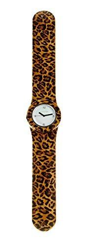 SlapStixx wasserdichte Quarzuhr mit Silikonarmband Leopard braun Slap oder WrapWatch moderne und trendige Uhr