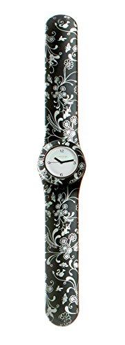 SlapStixx wasserdichte Quarzuhr mit Silikonarmband Slap oder WrapWatch moderne und trendige Uhr sw Blumen
