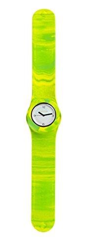 SlapStixx wasserdichte Quarzuhr mit Silikonarmband Slap oder WrapWatch moderne und trendige Uhr gruen gelb Verlauf