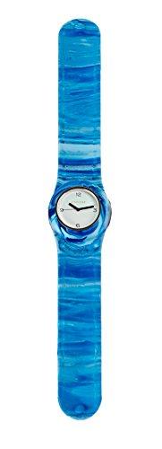 SlapStixx wasserdichte Quarzuhr mit Silikonarmband Slap oder WrapWatch moderne und trendige Uhr Blau Verlauf