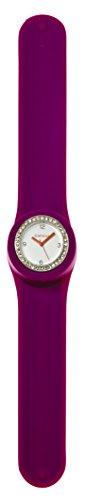 SlapStixx wasserdichte Quarzuhr mit Silikonarmband Slap oder WrapWatch moderne und trendige Uhr lila Brilliant