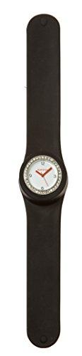 SlapStixx wasserdichte Quarzuhr mit Silikonarmband Slap oder WrapWatch moderne und trendige Uhr schwarz Brilliant