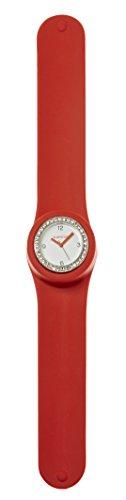 SlapStixx wasserdichte Quarzuhr mit Silikonarmband Slap oder WrapWatch moderne und trendige Uhr rot Brilliant