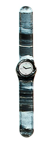 SlapStixx wasserdichte Quarzuhr mit Silikonarmband Slap oder WrapWatch moderne und trendige Uhr schwarz weiss Verlauf