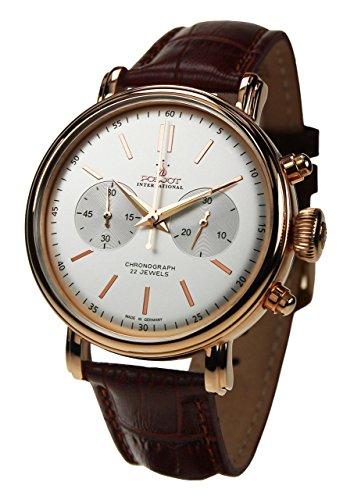 POLJOT Int Chronograph Classic vergoldet Handaufzug Mechanisch Lederband Russian Watch