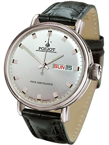 POLJOT Int New Yaroslavl Silber Tag Datum Daydate Mechanisch Lederband Russian Watch