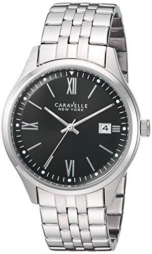 Caravelle New York 43b144 Herren Edelstahl schwarz Zifferblatt W Datum Fenster
