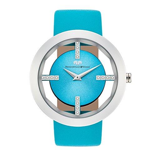 Rhodenwald Soehne Lucrezia Quarzuhr Edelstahl silber hellblau 3 ATM Praezisions Quarzwerk Stunde Minute Lederarmband hellblau Echtleder Armband Armband Uhr analog