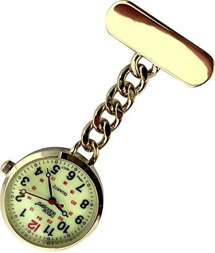 nw pro Revers Krankenschwester Uhr grossen nachtleuchtendes Zifferblatt wasserabweisend Angekettet Gold Ton