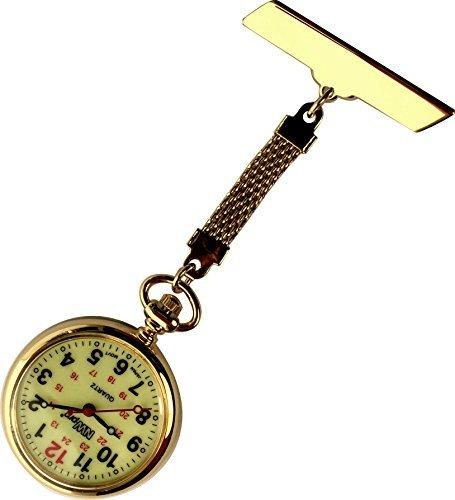 nw pro Revers Krankenschwester Uhr grossen nachtleuchtendes Zifferblatt wasserabweisend geflochten gold Ton