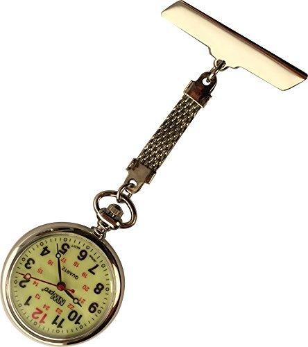 nw pro Revers Krankenschwester Uhr grossen nachtleuchtendes Zifferblatt wasserabweisend geflochten Silber Ton