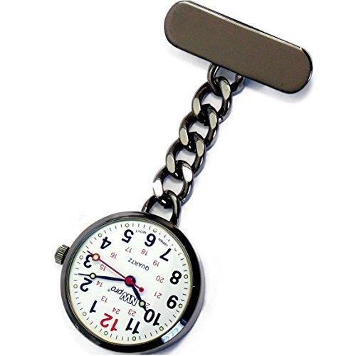 nw pro Revers Krankenschwester Uhr Grosses weisses Ziffernblatt wasserabweisend Angekettet Gunmetal