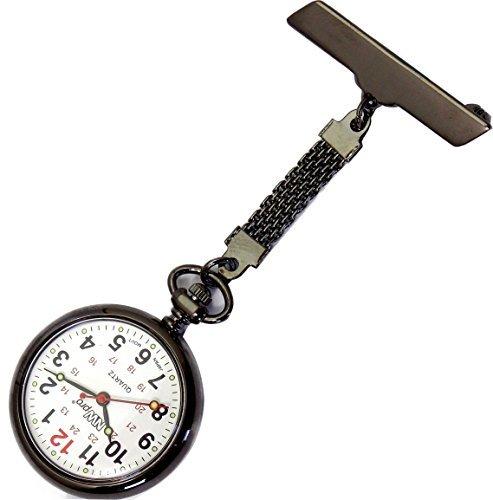 nw pro Revers Krankenschwester Uhr Grosses weisses Ziffernblatt wasserabweisend geflochten Gunmetal