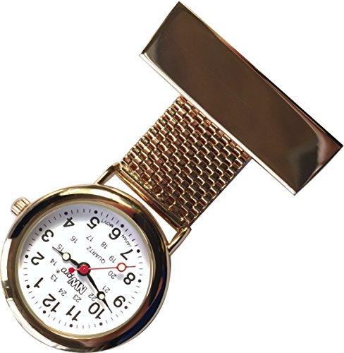 nw pro Revers Krankenschwester Uhr weisses Zifferblatt wasserabweisend geflochten breit Rose Gold