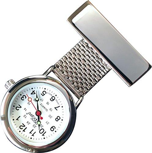 nw pro Revers Krankenschwester Uhr weisses Zifferblatt wasserabweisend geflochten breit Silber