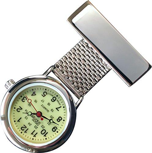 nw pro Revers Krankenschwester Uhr Haenden Zifferblatt wasserabweisend geflochten breit Silber
