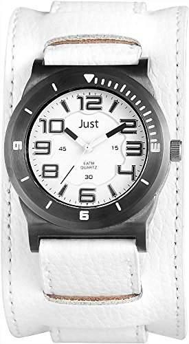 Just Herrenuhr Echtleder Armanduhr Ø 44mm Weiss Silber - 48-S10116WH-BK 48-S10116WH-BK