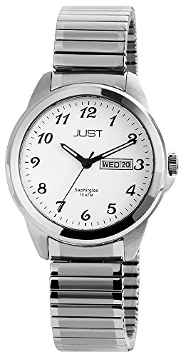 Just Analog Edelstahl 39 mm Silber Weiss 48 S50243 WH