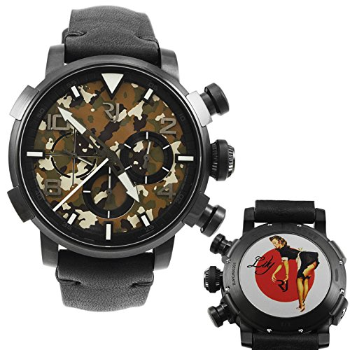 Romain Jerome Pinup DNA schwarz wwii Lily Maid Chronograph Automatik RJ P Ch 002 01