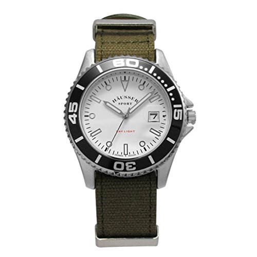 Haeusser DAY LIGHT Armbanduhr 40 mm mit khaki Textil NATO Band