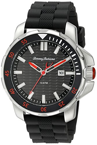 Tommy Bahama Herren 10018292 Big Island Diver 3 Zeiger Analog Display Japanisches Quartz Black Watch