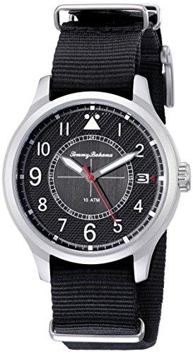 Tommy Bahama 10018348 Herren Edelstahl schwarz Nylon Band Schwarz Zifferblatt Smart Watch