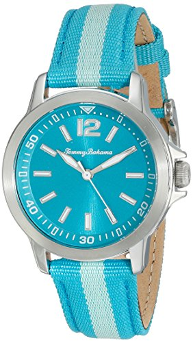 Tommy Bahama 10018370 Damen Edelstahl blau Nylon Band Blau Zifferblatt Runde Uhr