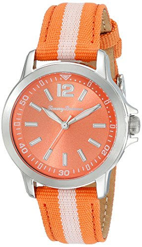 Tommy Bahama 10018371 Damen Edelstahl bicolor Nylon Band Orange Zifferblatt Armbanduhr