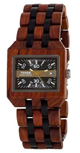 TENSE Mens Comox Premium Holzuhr B5100SD - Natuerliches Sandelholz B5100SD