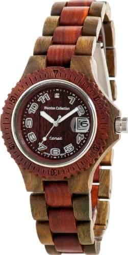TENSE Mens Compass Premium Holzuhr G4100GS - Natuerliches Sandelholz G4100GS