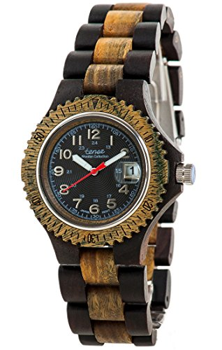 Holzuhr TENSE Mens Compass Premium G4100DG B Natuerliches Sandelholz G4100DG B