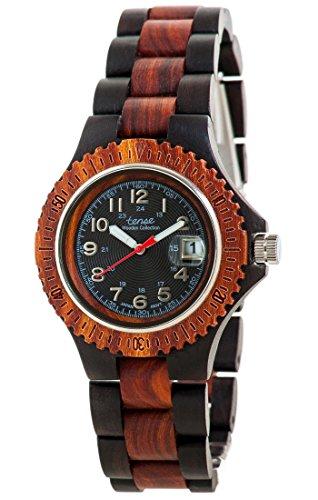 Holzuhr TENSE Mens Compass Premium Unisex Uhr G4100DR B Natuerliches Sandelholz Rosenholz G4100DR B