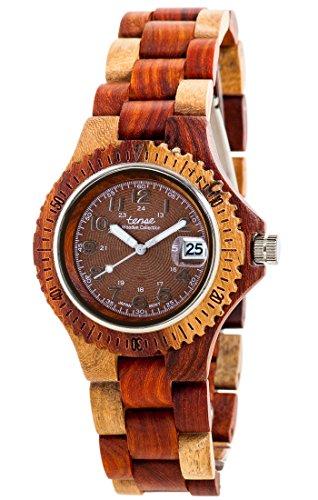 Holzuhr TENSE Mens Compass Premium Unisex Uhr G4100I BR Natuerliches Sandelholz G4100I BR