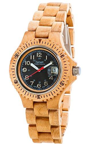 Holzuhr TENSE Mens Compass Premium Unisex Uhr G4100M B Natuerliches Ahornholz G4100M B