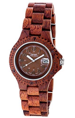 Holzuhr TENSE Mens Compass Premium Unisex Uhr G4100R BR Natuerliches Rosenholz G4100R BR