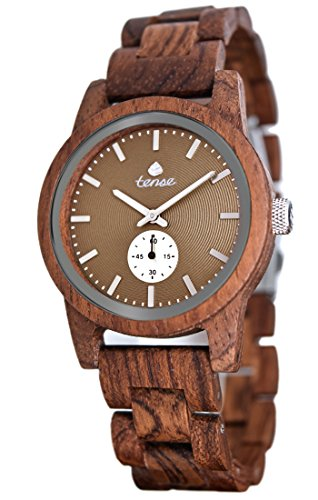 Holzuhr TENSE Mens Hampton Premium B4700R BR Natuerliches Rosenholz B4700R BR