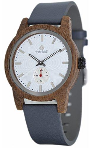Holzuhr TENSE Mens Leather Hampton Premium B4701W W Natuerliches Walnussholz B4701W W