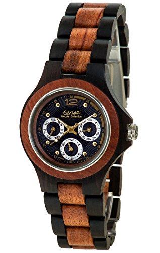 Holzuhr TENSE Mens Northwest Premium G4300DR BG Natuerliches Sandelholz Rosenholz G4300DR BG