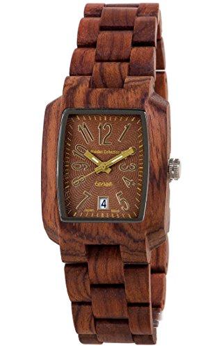 Holzuhr TENSE Mens Timber Premium J8102R BR Natuerliches Rosenholz J8102R BR