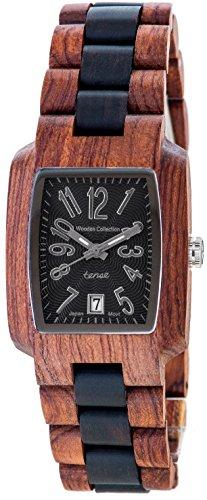 Holzuhr TENSE Mens Timber Premium J8102RD BSIL Natuerliches Rosenholz Sandelholz J8102RD BSIL