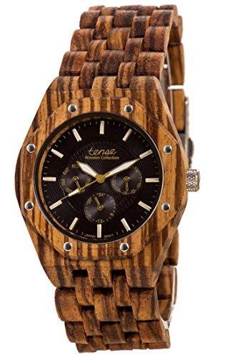 Holzuhr TENSE Mens Washington Premium J5803Z Natuerliches Zebrano Holz J5803Z