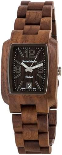 TENSE Mens Timber Premium Holzuhr J8102W - Natuerliches Walnuss Holz J8102W