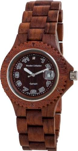 TENSE Mens Compass Premium Holzuhr G4100R - Natuerliches Rosenholz G4100R