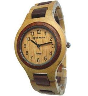 Tense Wood Watch Solid Maple und Sandelholz Herren Runde Armbanduhr hypoallergene Einzigartige G7509MS